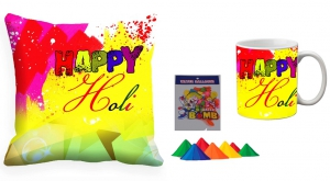 Holi Cushion Cover Mug-Combo hl11-m11