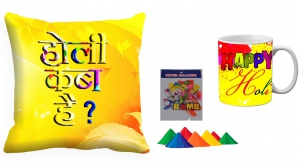 Holi Cushion Cover Mug-Combo hl13-m11