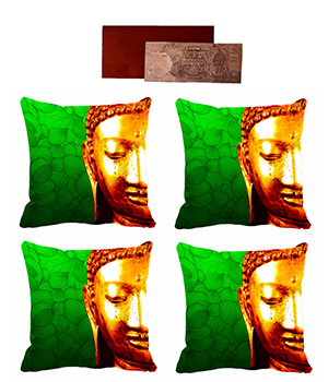 meSleep Digitally Printed 3D Saint Cushion Cover (16x16) -4PC Combo - Get 1000 Rs Silver Plated Note-1pc Free