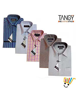 Tangy Pack of 5 Regular Fit Full Shirts TFSRF5