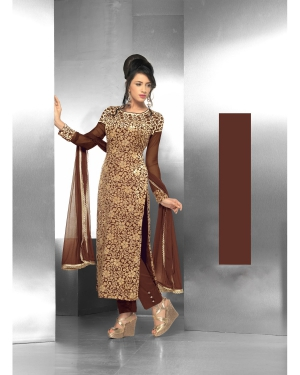 Designer Brown Embroidered Semi-stitched Straight Suit SHPH15-2042