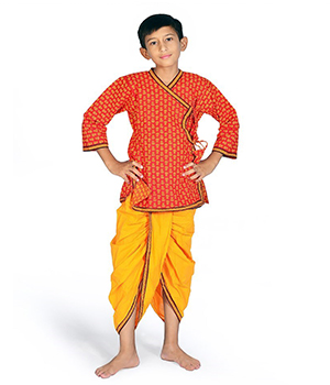 Rajasthani Floral Pattern Boys Traditional Dhoti Angrakha Dress DLI4KED201C
