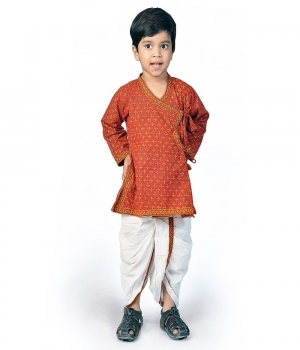 Ethnic Bagru Print Pure Cotton Boys Red n Yellow Dhoti Angrakha Set DLI4KED205A