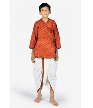 Ethnic Bagru Print Pure Cotton Boys Red n Yellow Dhoti Angrakha Set DLI4KED205C