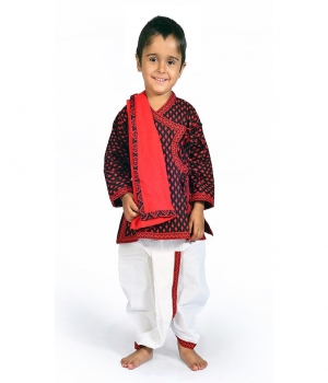 Jaipuri Design Pure Cotton Boys Traditional Dhoti Angrakha Dress DLI4KED207A