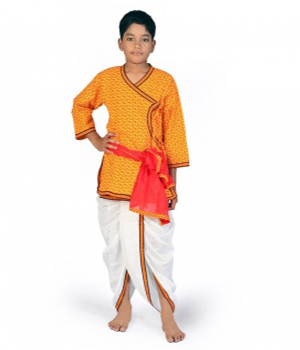 Sanganeri Design Red n Yellow Boys Pure Cotton Dhoti Angrakha Set DLI4KED208C