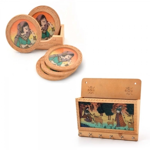 Buy Gemstone Painted Key Magazine Holder And Get Tea Coasters Free DL4COMB112