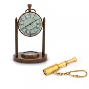 Buy Pure Brass Clock with Compass And Get Telescope Key Chain Free DL4COMB115