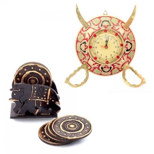 Buy Real Brass Sword Armour Wall Clock And Get Tea Coaster Set Free DL4COMB117