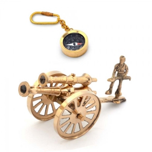 Buy Antique Pure Brass Canon Handicraft And Get Compass Key Chain Free DL4COMB125