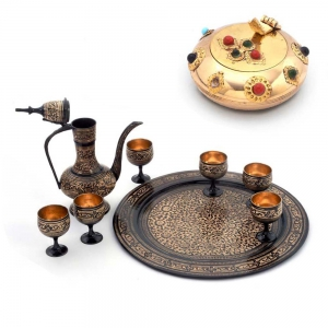 Buy Antique Royal Wine Set And Get Pure Brass Gemstone Ash Tray Free DL4COMB133