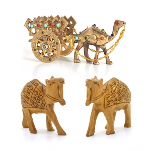Buy Gemstone Studded Brass Camel Cart And Get Wooden Camel Pair Free DL4COMB135