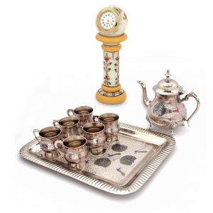 Buy Pure Brass Meenakari Royal Tea Set And Get Marble Table Clock Free DL4COMB137