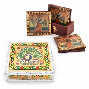 Buy Royal Meenakari Work Dryfruit Box And Get Brass Tea Coasters Free DL4COMB139