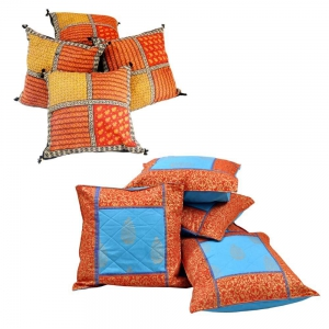 Buy Gold Print Cushion Cover Set and Get Patch Work Cushion Set Free DL4COMB153