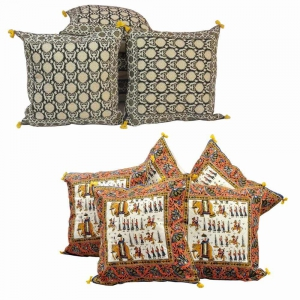 Buy Hand Block Cushion Cover Set and Get Another Cushion Cover Set Free DL4COMB155