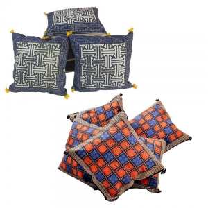 Buy Bagru Cotton Cushion Cover Set and Get Pure Cushion Cover Set Free DL4COMB156