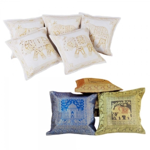 Buy Zari Embroidery Cushion Cover Set and Get Brocade Cushion Set Free DL4COMB160