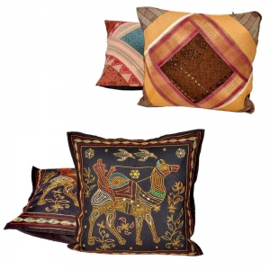 Buy Brocade Cushion Cover Set and Get Zari work Cushion Cover Set Free  DL4COMB249