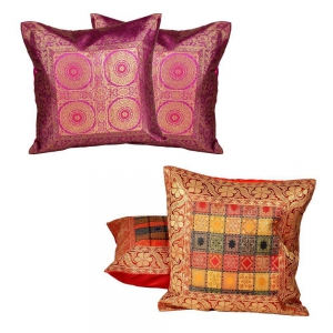 Buy Colourful Cushion Cover Set and Get Brocade Cushion Cover Set Free DL4COMB252
