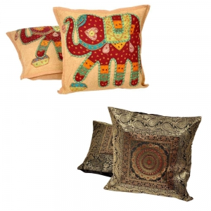 Buy Brocad Cushion Cover Set and Get Embroidery Cushion Cover Set Free  DL4COMB259