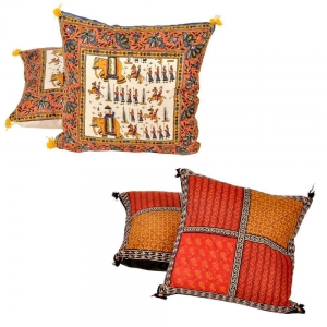 Buy Handblock Cushion Cover Set and Get Handwork Cushion Cover Set Free DL4COMB262