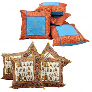 Pair of 5 Piece Set Rajasthani Designer Printed Cushion Covers Combo DL4COMB300