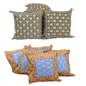 Duo of 5 Piece Set Rajasthani Printed Design Cushion Covers Combo DL4COMB301