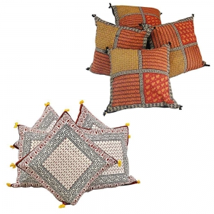 Pair of 5 Piece Set Rajasthani Designer Printed Cushion Covers Combo DL4COMB302