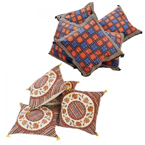 Duo of 5 Piece Set Rajasthani Printed Design Cushion Covers Combo DL4COMB303
