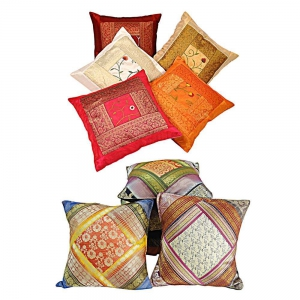 Duo of 5 Piece Set Rajasthani Printed Design Cushion Covers Combo DL4COMB305