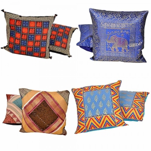 Rajasthani Design Four Sets of 2 Piece Colorful Cushion Covers Combo  DL4COMB306
