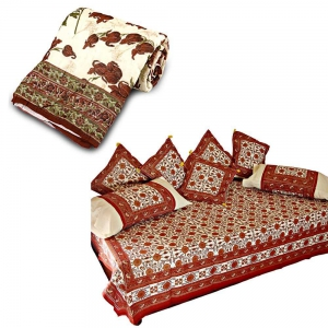 Floral Design Print Single Bed Razai Quilt and Complete Dewan Set Combo DL4COMB342