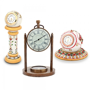 Pure Brass Antique Clock Compass And Two Marble Meenakari Clocks Combo DL4COMB352