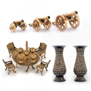 Flower Vase Pair Decorative Maharaja Table And 3Pc. Brass Cannons Combo DL4COMB355
