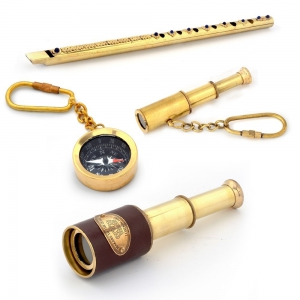 Keychain Compass Two Piece Telescopes And Brass Metal Real Flute Combo DL4COMB357