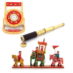 Clock Mobile Stand Wooden Maharaja Procession And Real Telescope Combo DL4COMB359