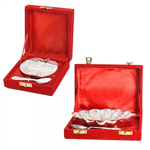 Flower And Apple Shaped Silver Polished Mouth Freshner Bowls Combo Set DL4COMB362