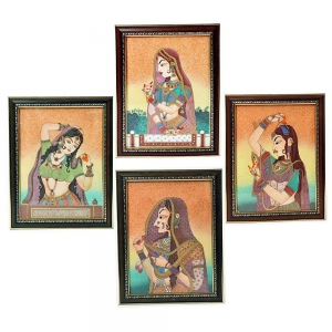 Princess Bani Thani Four Piece Wooden And Gemstones Paintings Combo Set DL4COMB364
