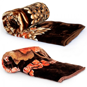 Beautiful Floral Print Double and Single Bed Soft Mink Korean Blanket  DL4COMB403