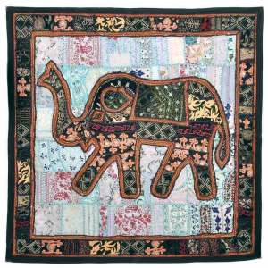 Fantastic Trendy Looking Embroidered Applique Elephant Wall Hanging DLI3WHG523