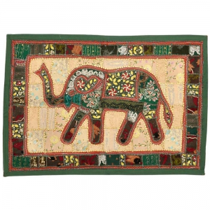 Applique Rich Astonishing Artistic Embroidery Elephant Wall Hanging DLI3WHG527