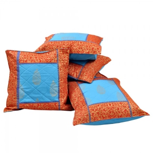 Jaipuri Traditional Golden Printed Cotton Fabric Cushion Covers Set  DLI4CUS301