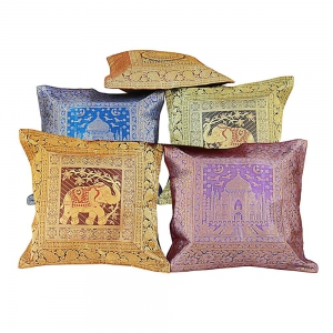 Brocade Work Multi_colour Cushion Cover Set Colourful Cushion Covers DLI4CUS403