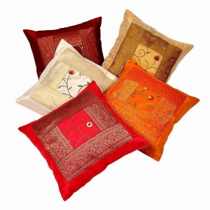 Embroidered Multicolor Cushion Cover 5 Pc Set Jaipuri Cushion Cover DLI4CUS426