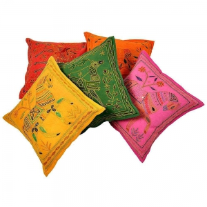 Fine Embroidered Cotton Cushion Cover 5 Pc Set Cotton Cushion cover DLI4CUS434