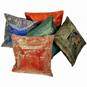 Multi-color Brocade Cushion Covers 5 Pc Set Cotton Cushion Cover DLI4CUS435