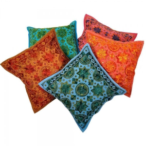 Hand Embroidered Cotton Cushion Cover 5 Pc Set Cotton Cushion Cover DLI4CUS438