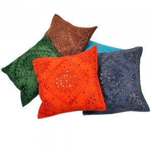 Hand Embroidered Cotton Cushion Cover 5 Pc Set Cotton Cushion Cover DLI4CUS445