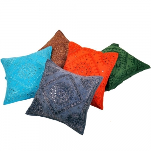 Mirror Lace Work Cotton Cushion Cover 5 Pc SetJaipuri Cushion Cover DLI4CUS450